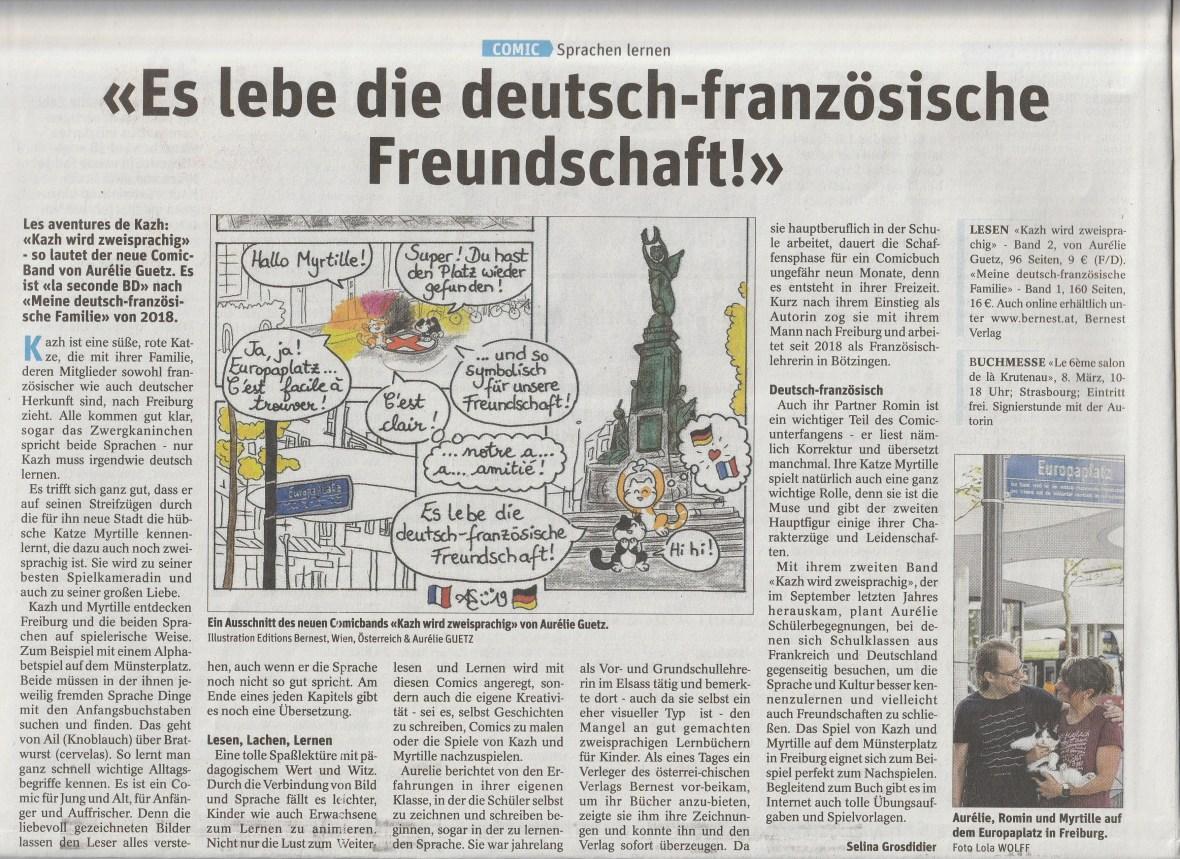Artikel -Es lebe die deutsch-französische Freundschaft- DNA-Alsace - Deutschsprachige Beilage - 29.02.20