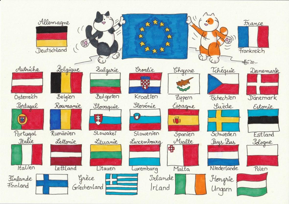 Europa modèle coloriage drapeaux en couleurs