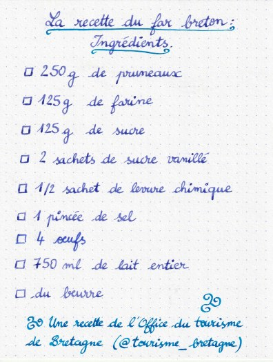 Checkliste Ingrédients Far breton